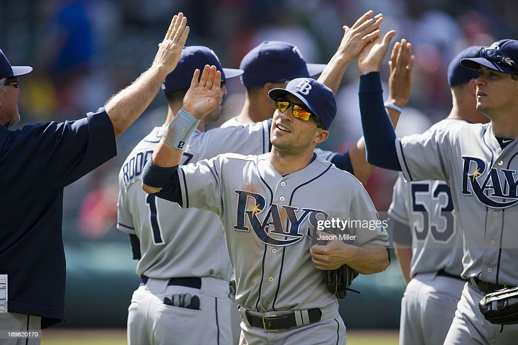 <a gi-track='captionPersonalityLinkClicked' href=/galleries/search?phrase=Sam+Fuld&family=editorial&specificpeople=4505687 ng-click='$event.stopPropagation()'>Sam Fuld</a> #5 of the Tampa Bay Rays celebrates with teammates after the Rays defeated the Cleveland Indians at Progressive Field on June 2, 2013 in Cleveland, Ohio. The Rays defeated the Indians 11-3.