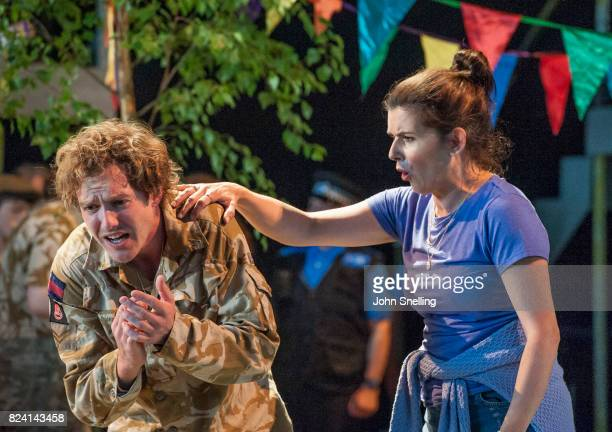 Sam Furness as Jack Victoria Simmonds as Anna perform on stage during a production of 'Silver Birch' a new opera by Roxanna Panufnik at Garsington...