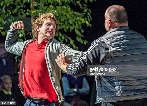Sam Furness as Jack with the Company perform on stage during a performance of 'Silver Birch' a new opera by Roxanna at Garsington Opera at Wormsley...