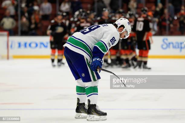 Sam Gagner looks on as the Anaheim Ducks celebrate after a game at Honda Center on November 9 2017 in Anaheim California The Anaheim Ducks defeated...