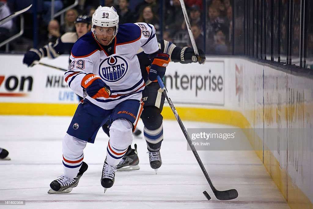 <a gi-track='captionPersonalityLinkClicked' href=/galleries/search?phrase=Sam+Gagner&family=editorial&specificpeople=4042961 ng-click='$event.stopPropagation()'>Sam Gagner</a> #89 of the Edmonton Oilers controls the puck against the Columbus Blue Jackets on February 10, 2013 at Nationwide Arena in Columbus, Ohio.