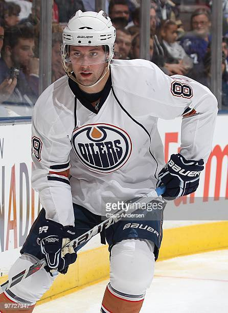 Sam Gagner of the Edmonton Oilers skates in a game against the Toronto Maple Leafs on March 13 2010 at the Air Canada Centre in Toronto Ontario The...
