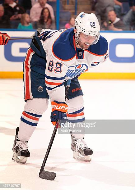 Sam Gagner of the Edmonton Oilers waits for a face off against the St Louis Blues during an NHL game on March 13 2014 at Scottrade Center in St Louis...