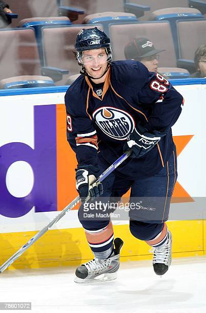 Sam Gagner of the Edmonton Oilers warms up prior to their NHL game against the Vancouver Canucks on December 15 2007 in Edmonton Alberta Canada The...