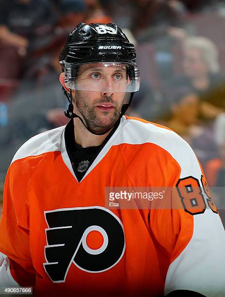 Sam Gagner of the Philadelphia Flyers looks on before a face off against the New York Rangers on April 7 2015 at the Wells Fargo Center in...