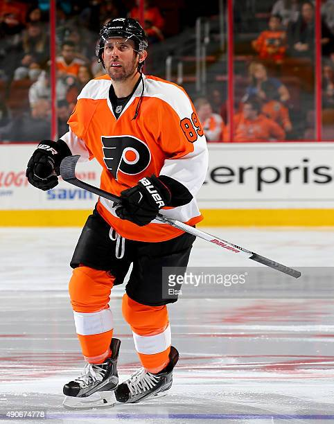 Sam Gagner of the Philadelphia Flyers takes the ice before the game against the New York Rangers on April 7 2015 at the Wells Fargo Center in...
