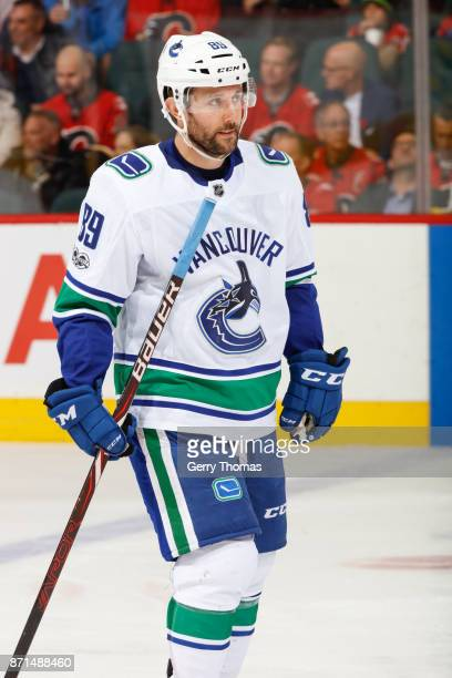 Sam Gagner of the Vancouver Canucks after an NHL game against the Vancouver Canucks at the Scotiabank Saddledome on November 7 2017 in Calgary...
