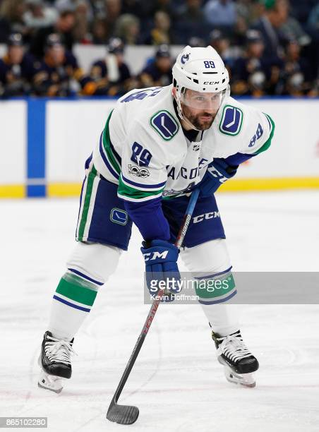 Sam Gagner of the Vancouver Canucks during the game against the Buffalo Sabres at the KeyBank Center on October 20 2017 in Buffalo New York