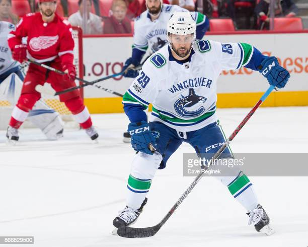 Sam Gagner of the Vancouver Canucks gets in the way of a pass against the Detroit Red Wings during an NHL game at Little Caesars Arena on October 22...