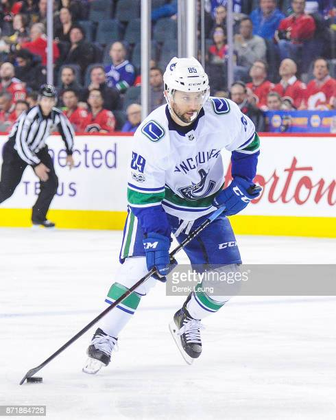 Sam Gagner of the Vancouver Canucks in action against the Calgary Flames during an NHL game at Scotiabank Saddledome on November 11 2017 in Calgary...