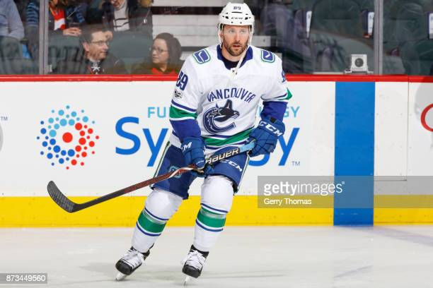 Sam Gagner of the Vancouver Canucks skates at warm up in an NHL game against the Calgary Flames at the Scotiabank Saddledome on November 7 2017 in...