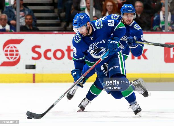Sam Gagner of the Vancouver Canucks skates up ice during their NHL game against the Calgary Flames at Rogers Arena October 14 2017 in Vancouver...