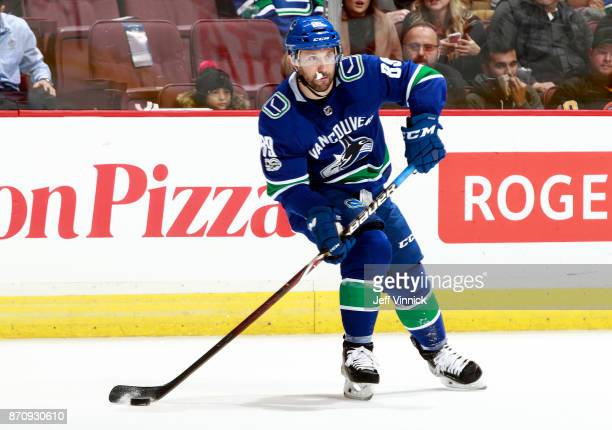 Sam Gagner of the Vancouver Canucks skates up ice during their NHL game against the New Jersey Devils at Rogers Arena November 1 2017 in Vancouver...