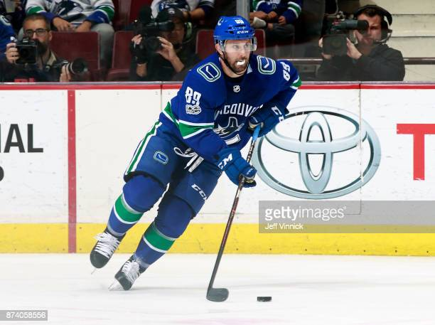 Sam Gagner of the Vancouver Canucks skates up ice during their NHL game against the Dallas Stars at Rogers Arena October 30 2017 in Vancouver British...