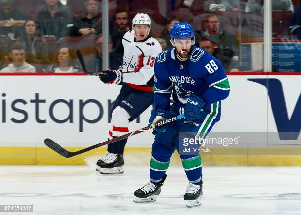 Sam Gagner of the Vancouver Canucks skates up ice during their NHL game against the Washington Capitals at Rogers Arena October 26 2017 in Vancouver...
