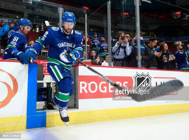 Sam Gagner of the Vancouver Canucks steps onto the ice during their NHL game against the Winnipeg Jets at Rogers Arena October 12 2017 in Vancouver...