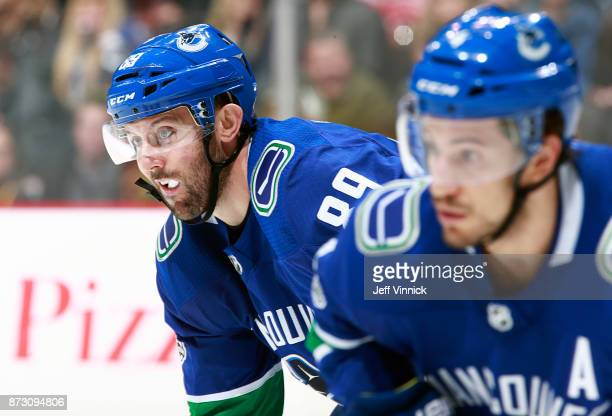 Sam Gagner of the Vancouver Canucks waits for a faceoff during their NHL game against the Pittsburgh Penguins at Rogers Arena November 4 2017 in...