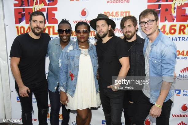 Sam Getz Brett Lindemann Jimmy Weaver Mikey Gould Bri Bryant and Jon Bryant of the US band Welshly Arms during the 'Stars for Free' open air festival...