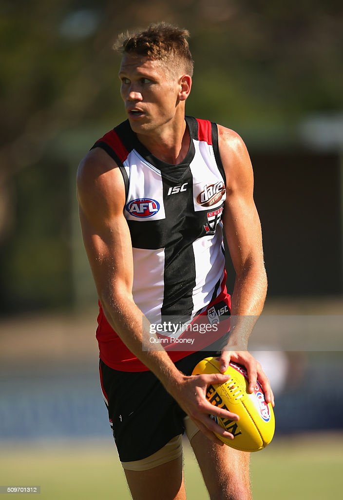 Sam Gilbert of the Saints kicks during the St Kilda Saints AFL Intra-Club Match at Trevor Barker Beach Oval on February 12, 2016 in Melbourne, Australia.
