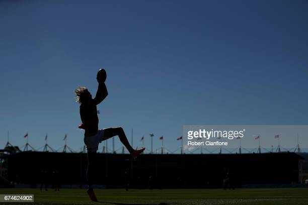 Sam Gilbert of the Saints warms up for the round six AFL match between the Hawthorn Hawks and the St Kilda Saints at University of Tasmania Stadium...