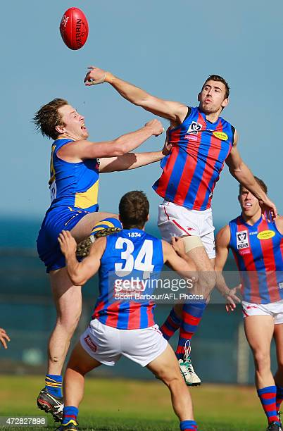 Sam Gilmore of Port Melbourne and Nick Meese of Williamstown compete for the ball during the round four VFL match between Williamstown and Port...