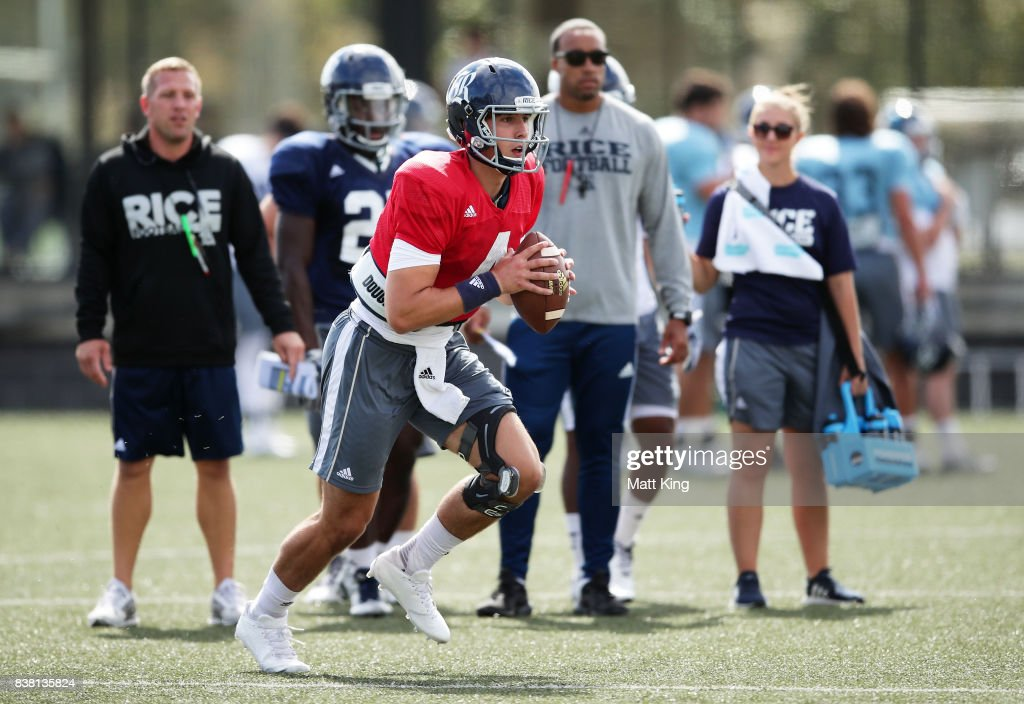 Sam Glaesmann runs with the ball during a Rice University College Football training session at David Phillips Sports Complex on August 24, 2017 in Sydney, Australia.