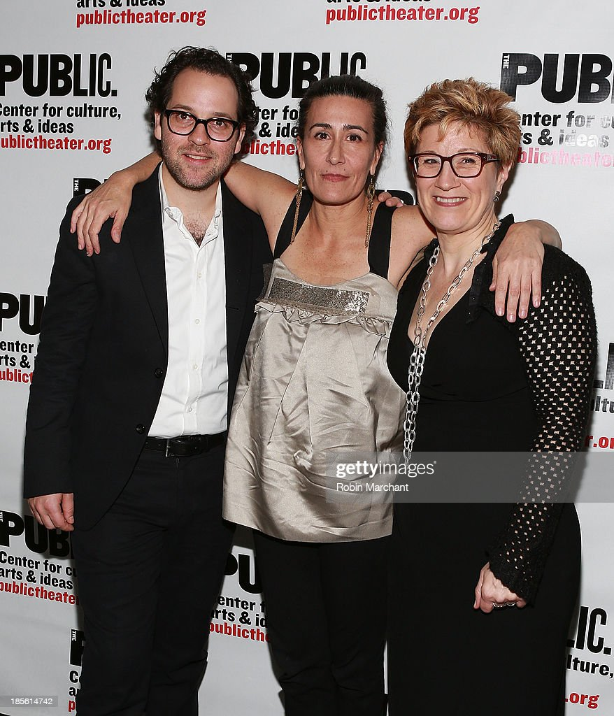Sam Gold, Jeanine Tesori and <a gi-track='captionPersonalityLinkClicked' href=/galleries/search?phrase=Lisa+Kron&family=editorial&specificpeople=572501 ng-click='$event.stopPropagation()'>Lisa Kron</a> attend the opening night celebration of 'Fun Home' at The Public Theater on October 22, 2013 in New York City.