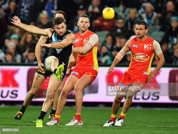 Sam Gray of the Power kicks the ball during the round 23 AFL match between the Port Adelaide Power and the Gold Coast Suns at Adelaide Oval on August...
