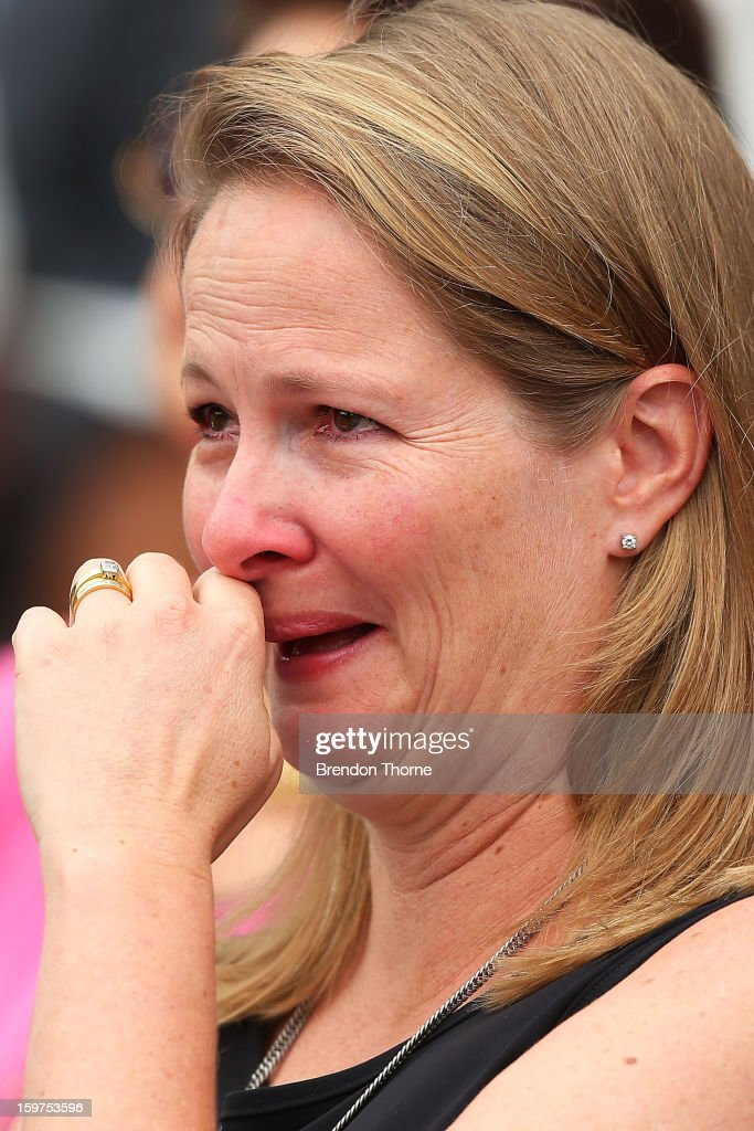 Sam Greig wipes away tears during the Tony Greig memorial service at Sydney Cricket Ground on January 20, 2013 in Sydney, Australia.