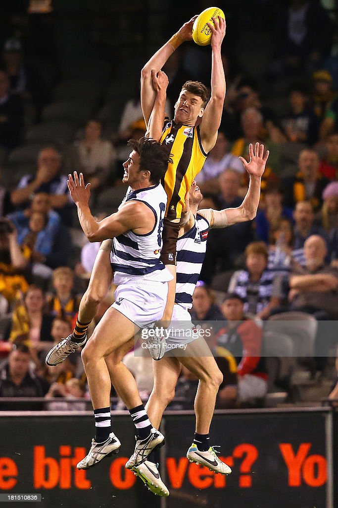 Sam Grimley of the Hawks marks during the VFL Grand Final match between the Box Hill Hawks and the Geelong Cats at Etihad Stadium on September 22, 2013 in Melbourne, Australia.
