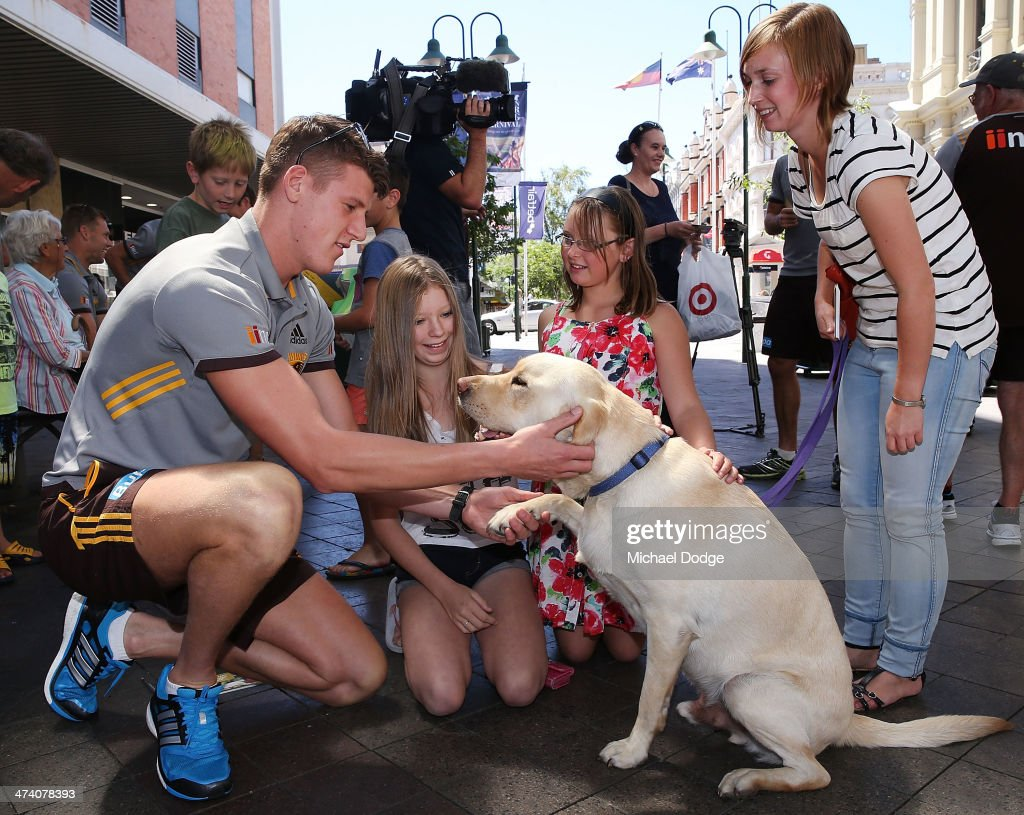 Sam Grimley plays with a Guide Dog during Guide Dogs Tasmania 'Take the Lead' campaign launch during the Hawthorn Hawks AFL Community Camp on February 22, 2014 in Launceston, Australia.