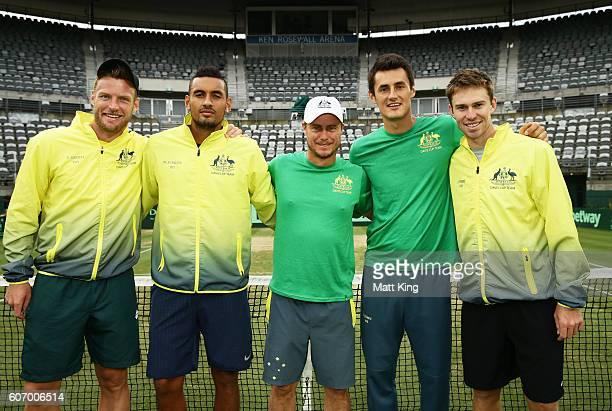 Sam Groth Nick Kyrgios Bernard Tomic and John Peers of Australia with captain of Australian Lleyton Hewitt pose after winning the Davis Cup World...