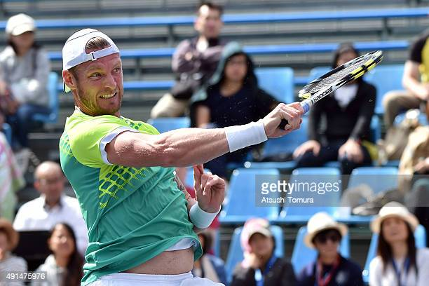 Sam Groth of Australia in action during the men's singles match against Jeremy Chardy of France on day two of Rakuten Open 2015 at Ariake Colosseum...