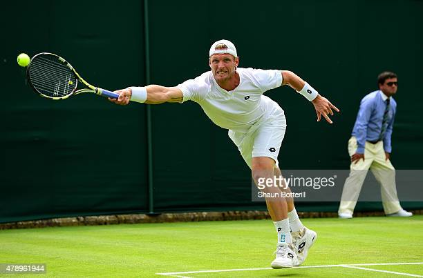 Sam Groth of Australia in action with his doubles partner Sergiy Stakhovsky of the Ukraine during their Men's Doubles first round match against Jack...