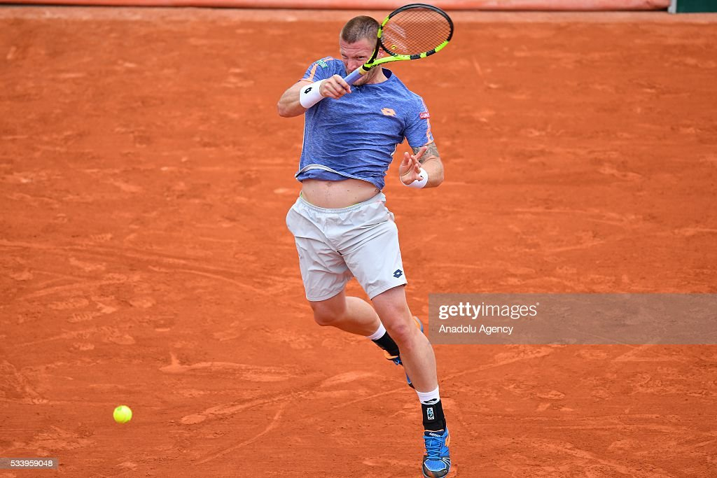 Sam Groth (C) of Australia in an action during the men's single first round match against Rafael Nadal of Spain at the French Open tennis tournament at Roland Garros in Paris, France on May 24, 2016.