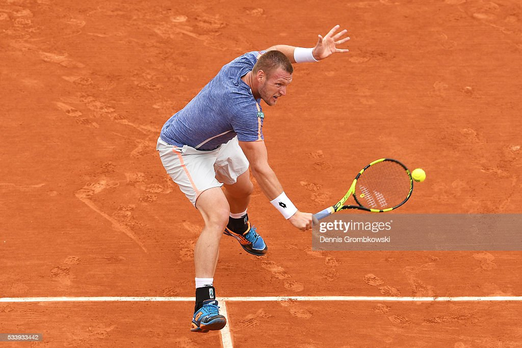 Sam Groth of Australia plays a backhand during the Men's Singles first round match against Rafael Nadal of Spain on day three of the 2016 French Open at Roland Garros on May 24, 2016 in Paris, France.
