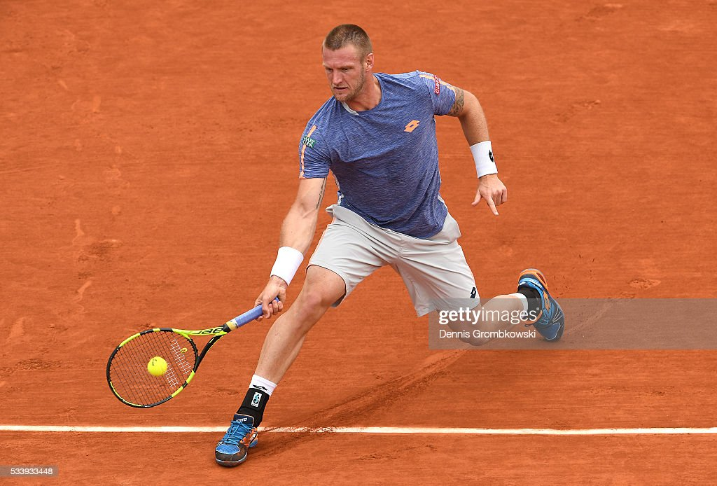 Sam Groth of Australia plays a forehand during the Men's Singles first round match against Rafael Nadal of Spain on day three of the 2016 French Open at Roland Garros on May 24, 2016 in Paris, France.