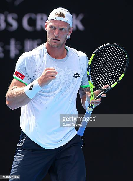 Sam Groth of Australia reacts in his second round match against Andy Murray of Great Britain during day four of the 2016 Australian Open at Melbourne...