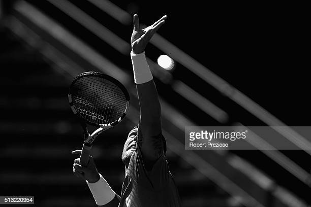 Sam Groth of Australia serves during a practice session ahead of the Davis Cup Tie between Australia and the United States at Kooyong on March 2 2016...