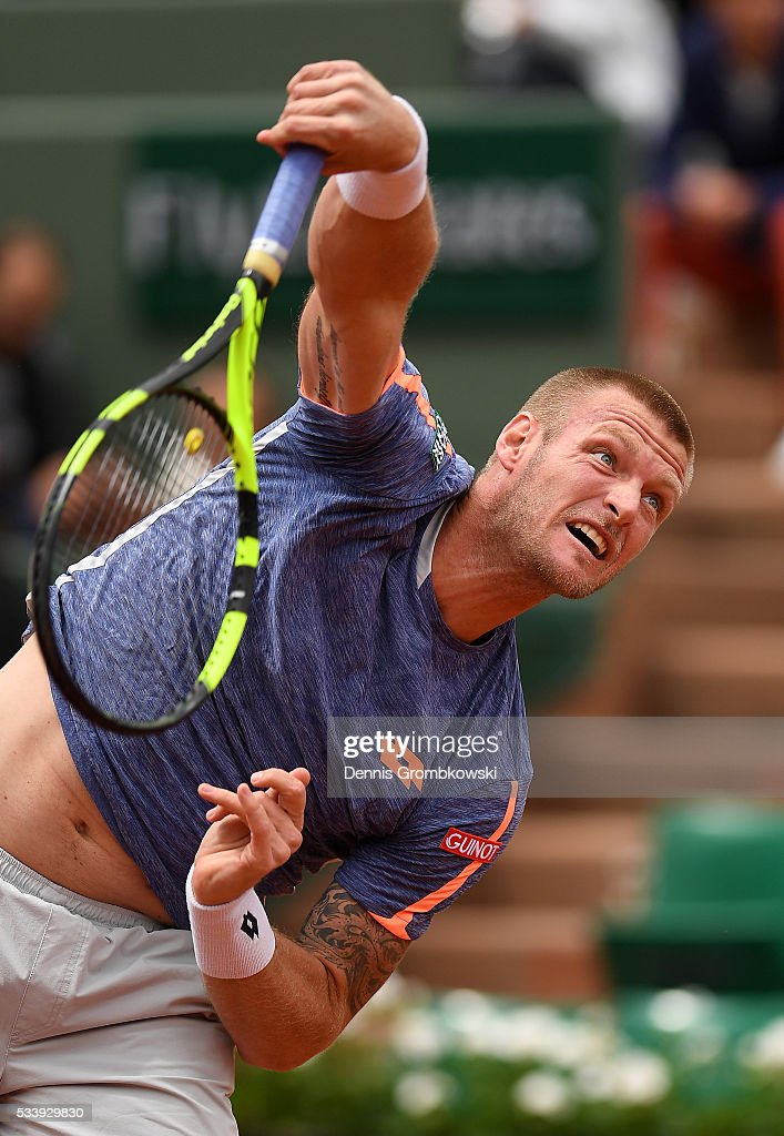Sam Groth of Australia serves during the Men's Singles first round match against Rafael Nadal of Spain on day three of the 2016 French Open at Roland Garros on May 24, 2016 in Paris, France.