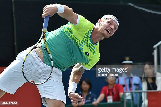 Sam Groth of Australia serves during the men's singles match against Jeremy Chardy of France on day two of Rakuten Open 2015 at Ariake Colosseum on...