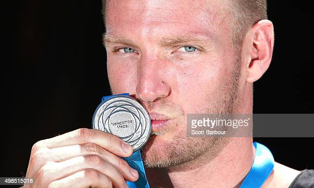 Sam Groth poses with the Newcombe Medal at Melbourne Park on November 24 2015 in Melbourne Australia