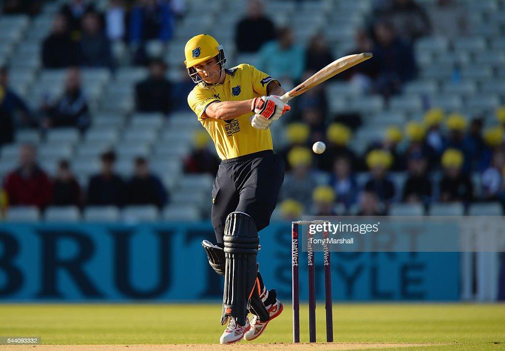 Sam Hain of Birmingham Bears bats during the NatWest T20 Blast between Birmingham Bears and Northants Steelbacks at Edgbaston on July 1, 2016 in Birmingham, England.
