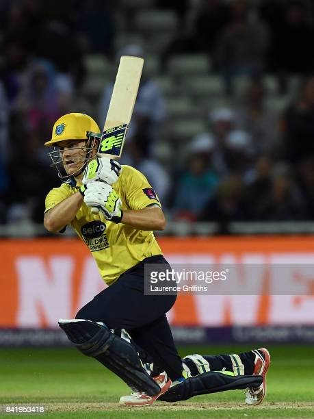Sam Hain of Birmingham hits out during the NatWest T20 Blast Final between Birmingham Bears and Notts Outlaws at Edgbaston on September 2 2017 in...