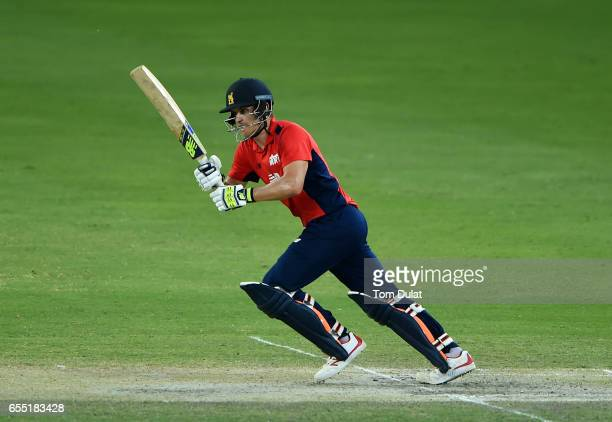 Sam Hain of The North bats during Game Two of the ECB North versus South Series at Dubai International Cricket Ground on March 19 2017 in Dubai...