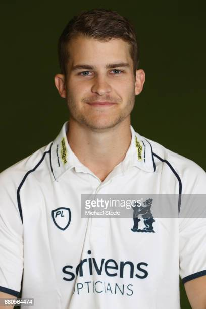 Sam Hain of Warwickshire in the Specsavers County Championship kit during the Warwickshire County Cricket photocall at Edgbaston on March 30 2017 in...