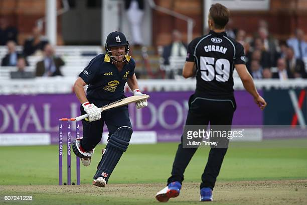 Sam Hain of Warwickshire scores runs during the Royal London oneday cup final between Warwickshire and Surrey at Lord's Cricket Ground on September...