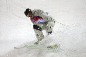 Sam Hall of Australia competes in the Men's Moguls Qualification on day three of the Sochi 2014 Winter Olympics at Rosa Khutor Extreme Park on...