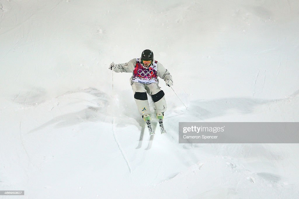 Sam Hall of Australia trains during moguls practice at the Extreme Park at Rosa Khutor Mountain ahead of the Sochi 2014 Winter Olympics on February 5, 2014 in Sochi, Russia