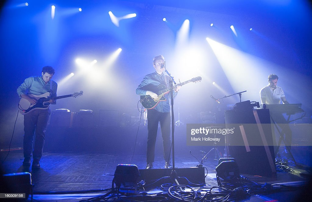 Sam Halliday, Alex Trimble and Kevin Baird of Two Door Cinema Club performing in Southampton at Southampton Guildhall on January 28, 2013 in Southampton, England.